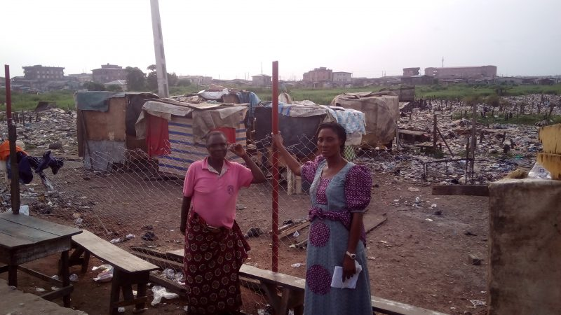 MRS KELLY (RIGHT) WITH AN EVICTED RESIDENT